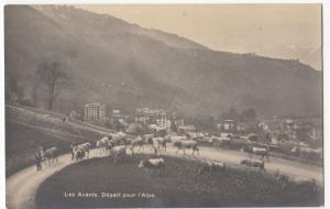 Switzerland; Les Avants, Leaving For The Alps RP PPC, Unposted, c 1930's