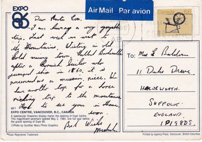 Post Card Canada Vancouver Expo Centre 1986