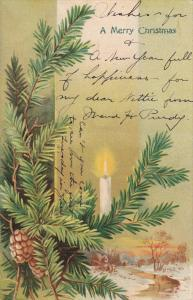 CHRISTMAS ; Candle in Christmas tree , PU-1905