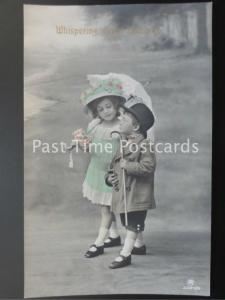 c1912 RP Little Boy & Girl Whispering Sweet Nothings by Alfred Stiebel: 3384/5