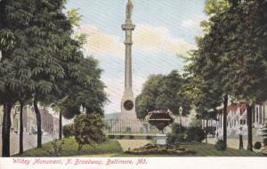 BALTIMORE, Maryland, PU-1908; Wildey Monument, N. Broadway