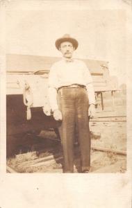 D52/ Occupational RPPC Real Photo Postcard c1910 Railroad Employee Tracks 17