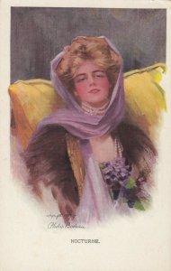 AS: Nocturne Boileau, 1900-10s; Art Nouveau, Blond woman wearing lhead scarf