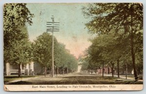 Montpelier Ohio~East Main Street Leading to Fair Grounds~Homes Both Sides~1908