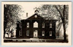 Grand Junction Iowa~High School~Open Belfry~Barn Behind~1913 RPPC