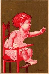 NEWARK NJ - 1800's advertising trade card: Graf Bros - CLOTHING - GOLD CHILD