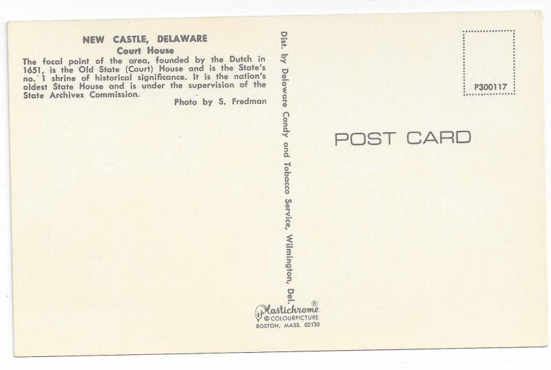 New Castle DE Court House Vintage Postcard