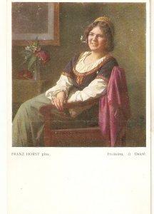 Franz Horst. Ladyrelaxing at home. Frohsinn Fine painting, vintage Austrian PC