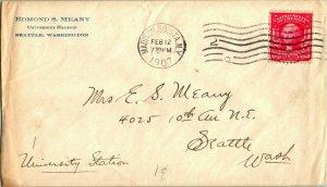 1907 Edmond S. Meany Envelope University Of Washington Addressed to Wife Seattle