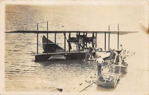 Pulteney NY At Dock America Airplane L.T. Porte RPPC Postcard by H. M. Benner