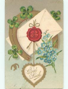 Pre-1907 SEALED ENVELOPE WITH HORSESHOE AND BLUE FLOWERS k4106