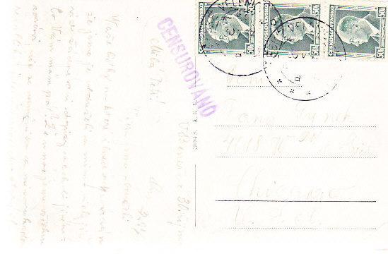 Czechoslovakia - Benesov Multiview Card w/Censorship Mark