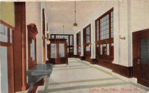 F33/ Macon Missouri Postcard 1914 Interior Post Office Lobby