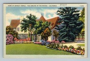 Home And Gardens Of Actress Shirley Temple, Linen California Postcard