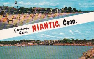 Connecticut Greetings From Niantic Showing Crescent Beach & Niantic Bay
