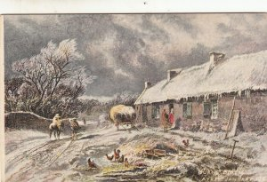 P1726 vintage unused art postcard january winter scene printed in scotland