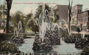 Michigan Detroit Fountain On Washington Boulevard