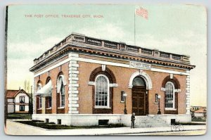 Traverse City Michigan~Post Office~Man @ Steps~Bicycle in Front~Flag~c1910