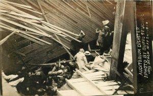 RPPC Postcards 3 Photos Empire Day Auditorium Disaster Long Beach 1913 CA Burro