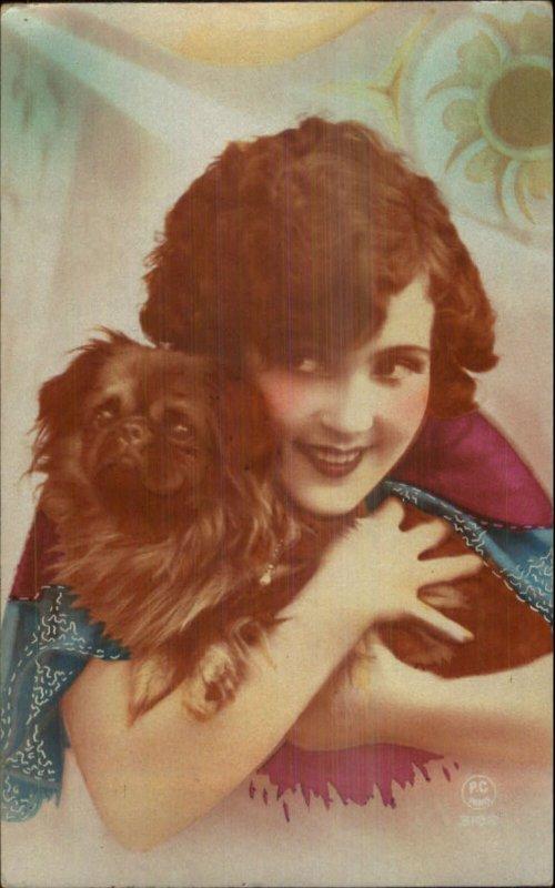 Art Deco Beautiful Woman & Pekingese Dog Tinted Real Photo Postcard