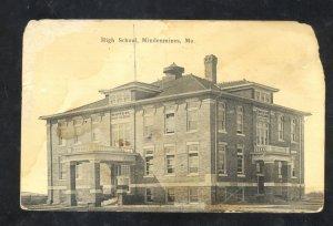 MINDENMINES MISSOURI HIGH SCHOOL BUILDING VINTAGE POSTCARD MO.