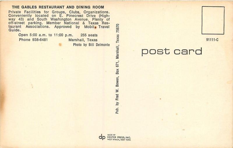 Marshall Texas~Gables Restaurant & Dining Room~Nice 1960s Cars~El Camino