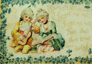 1870's Lovely Couple Forget Me Not Valentine Poem Victorian Embossed Card F98