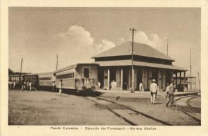colombia, PUERTO COLOMBIA, Estación del Ferrocarril, Railway Station with Train