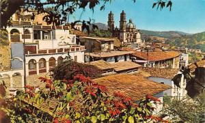 Mexico Old Vintage Antique Post Card Vista Panoramica Taxco Writing on back
