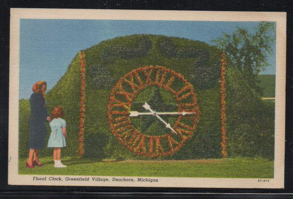 Floral Clock Greenfield Village, Dearborn, used 1962 colour PC
