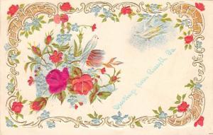 Russell Pennsylvania~White Doves~Silk Roses~Art Nouveau~Emboss~1907 Postcard