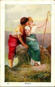 Vtg Cartolina 1912 Romance -  Wooing  Risque Pastori
