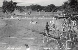 Red Oak Iowa~Swimming Pool~Action Shot~Cannonball Off the High Dive~1966 RPPC