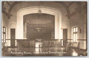 Mount Vernon Ohio~State Tuberculosis Sanatorium~Assembly Room Stage~c1912 RPPC
