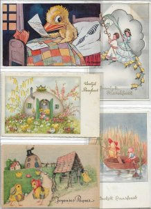 Happy Easter - Chicks And Easter Bunny Postcard Lot of 9 - 01.10