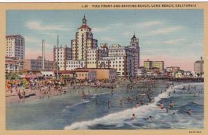 California Long Beach Pike Front and Bathing Beach Curteich