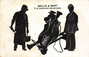 G96/ Interesting Postcard Mallia & Bart Silhouette Horse Baggage Smashers 2