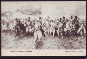 P1561 old unused postcard waterloo charging with horses french/belgium/
