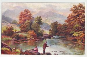 P1121  art tucks oilette fishing unused on the Llugwy capel curig wales uk