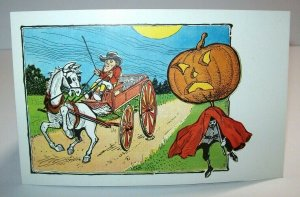 Vintage Halloween Postcard Horse & Buggy Driver Is Spooked Non Posted Antique