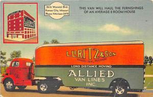 Kansas City MO L Leritz & Son Allied Van Lines Trucking Co. 1947 Linen Postcard