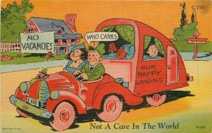 Comic Humor 1949 Family in auto no vacancies Teich linen postcard 10917