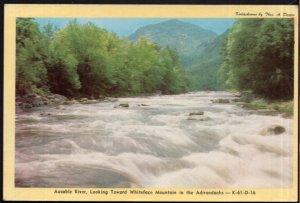 NY Ausable River Toward Whiteface Mountain in the Adirondacks - White Border