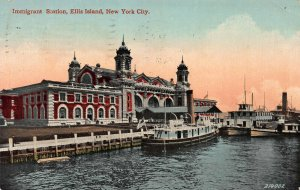 Immigrant Station, Ellis Island, New York City, N.Y., Early Postcard, Used