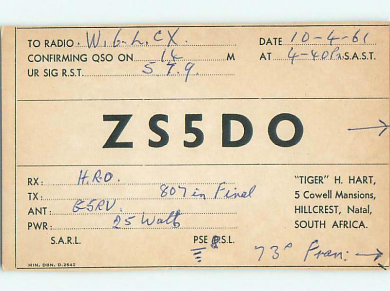1961 vintage QSL CB HAM RADIO CARD Hillcrest - Natal SOUTH AFRICA s0369