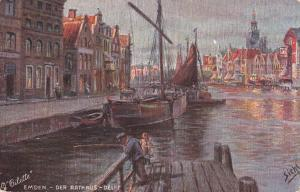 TUCK #185B; EMDEN, Lower Saxony, Germany; Der Rathaus - Delft, Sailing Ships, 00