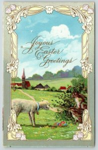 Easter~Lamb Discovers Rabbits & Their Colored Eggs~Meadow~Path to Village~PC 235