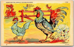 Vintage ARTIST-SIGNED RAY WALTERS Comic Linen Postcard Rooster Chicken C-163