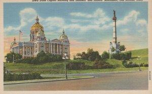 Iowa State Capital Sailors Monument De Moines Vintage Linen Post Card