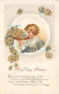 Happy Birthday Post Card Old Vintage Antique International Art Publishing Unused